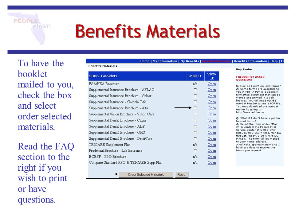 Benefits Materials To have the booklet mailed to you, check the box and select order selected materials.