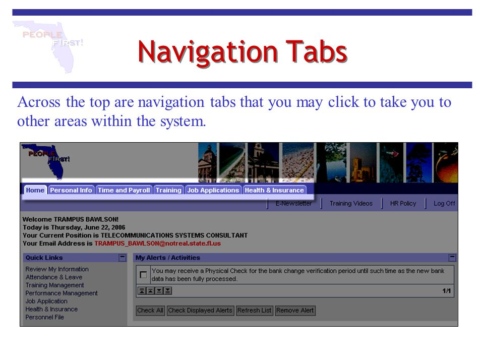 Navigation Tabs Across the top are navigation tabs that you may click to take you to other areas within the system.
