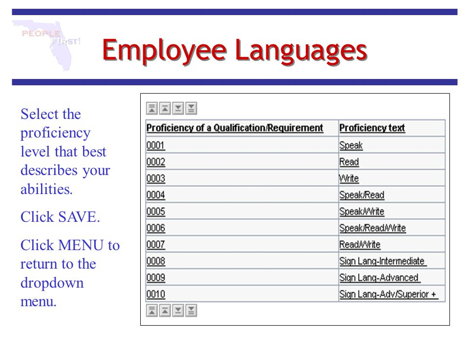 Employee Languages Select the proficiency level that best describes your abilities. Click SAVE. Click MENU to return to the dropdown menu.