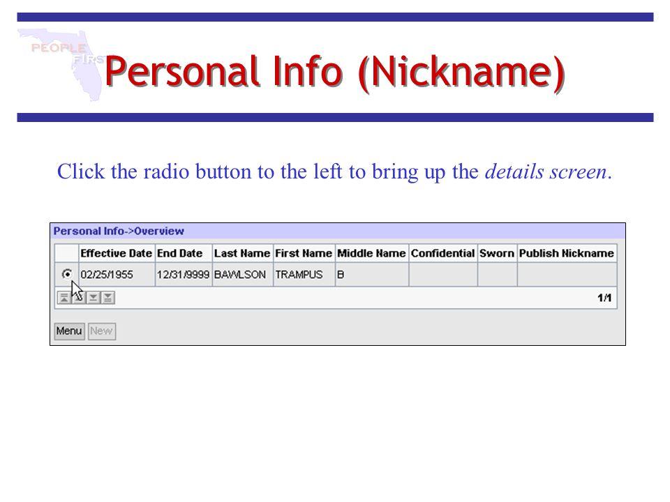 Personal Info (Nickname)