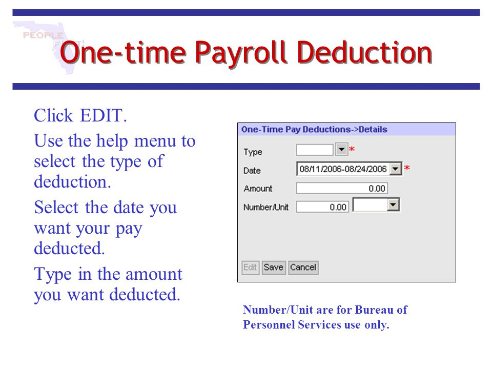 One-time Payroll Deduction