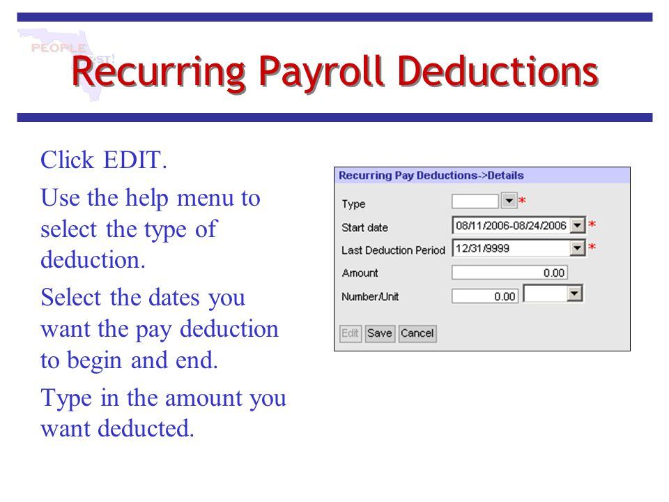 Recurring Payroll Deductions