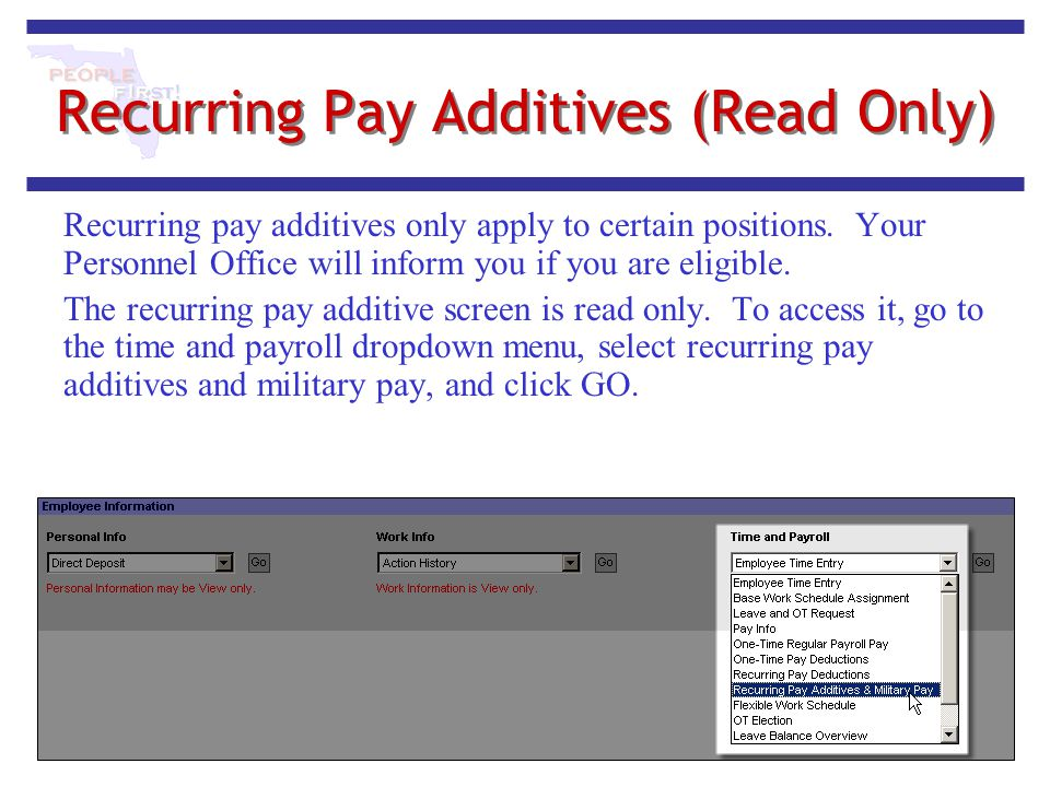 Recurring Pay Additives (Read Only)