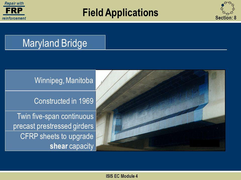 Field Applications Maryland Bridge FRP Winnipeg, Manitoba