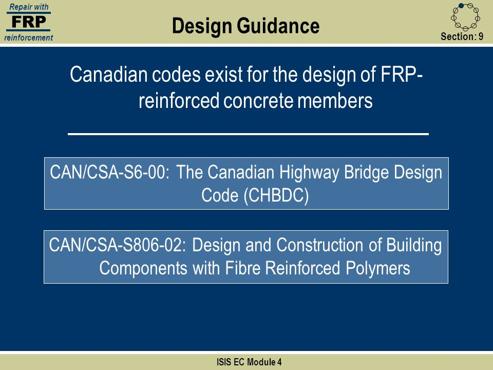 Canadian codes exist for the design of FRP-reinforced concrete members
