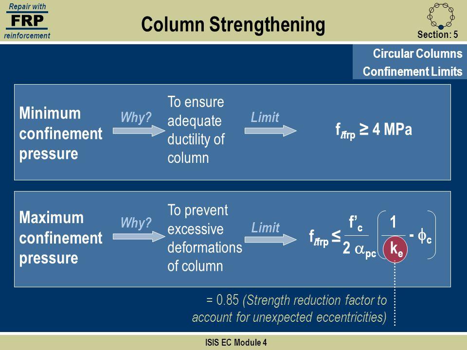 Column Strengthening Minimum confinement pressure flfrp ≥ 4 MPa