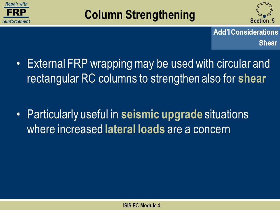 FRP Repair with. reinforcement. Column Strengthening. Section: 5. Add'l Considerations. Shear.