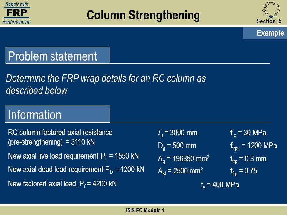 Column Strengthening Problem statement Information