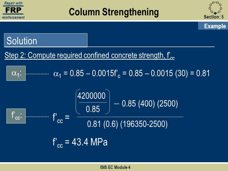 Column Strengthening Solution - 0.85 (400) (2500) f'cc =