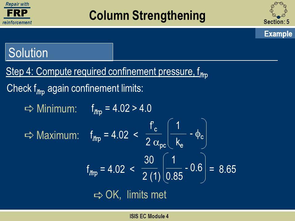 Column Strengthening Solution a Minimum: a Maximum: OK, limits met