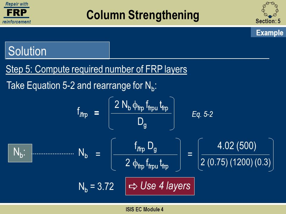 Column Strengthening Solution Nb: a Use 4 layers