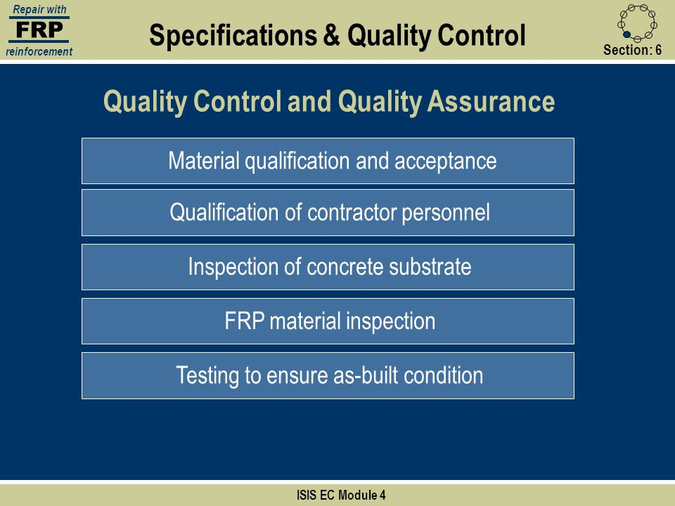 Specifications & Quality Control Quality Control and Quality Assurance