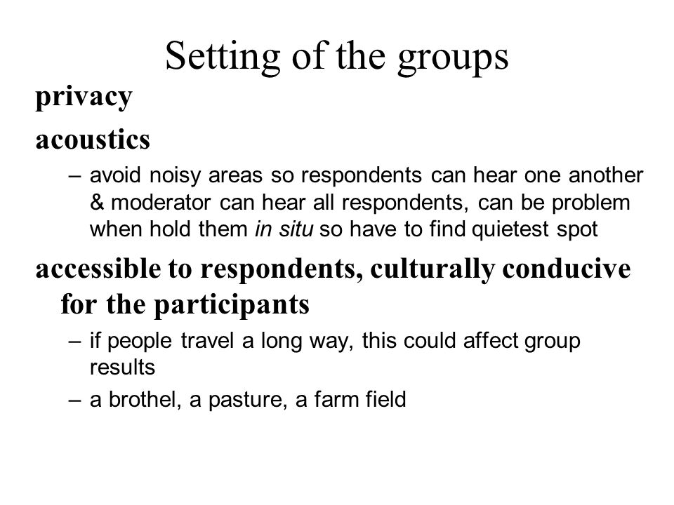 Setting of the groups privacy acoustics