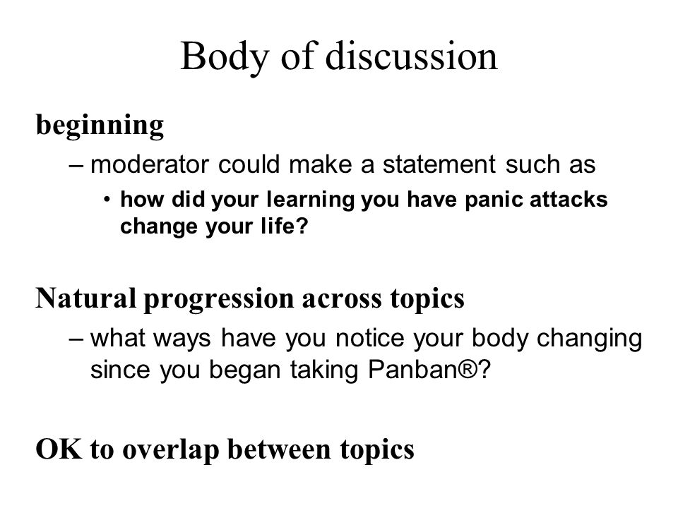 Body of discussion beginning Natural progression across topics