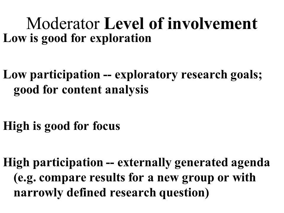 Moderator Level of involvement