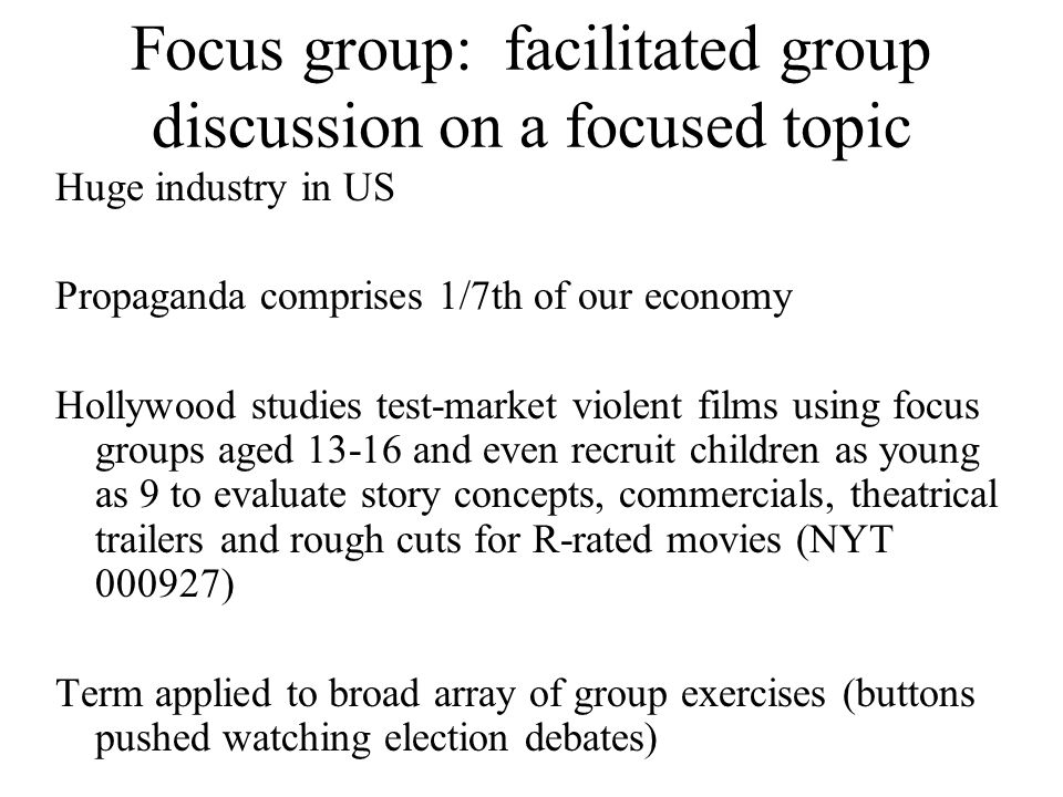 Focus group: facilitated group discussion on a focused topic