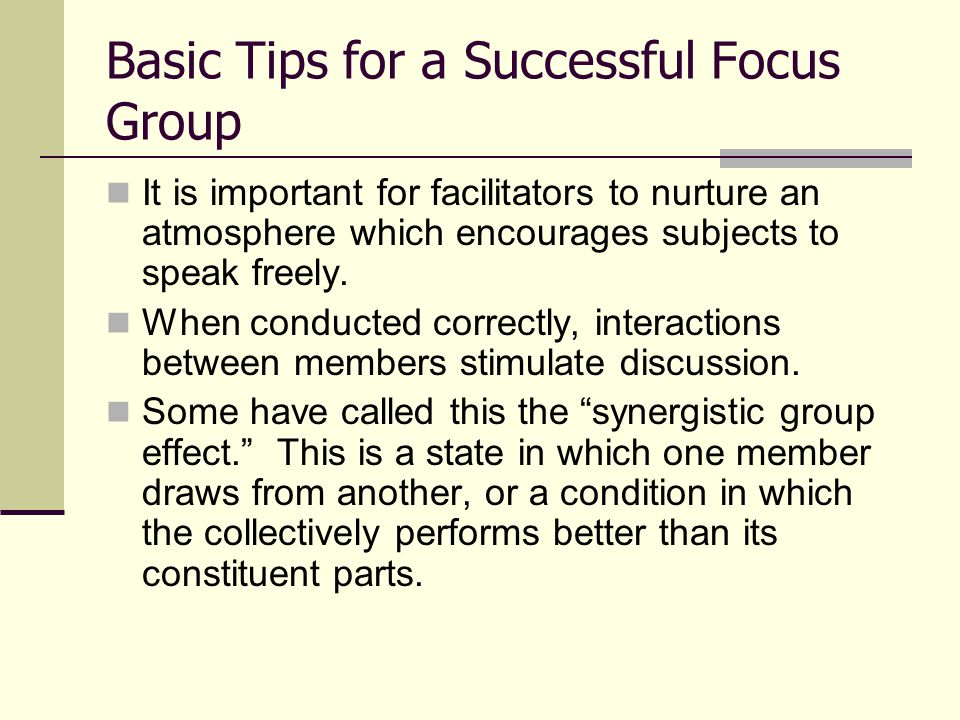 Basic Tips for a Successful Focus Group