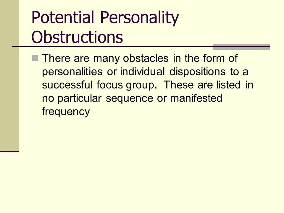 Potential Personality Obstructions