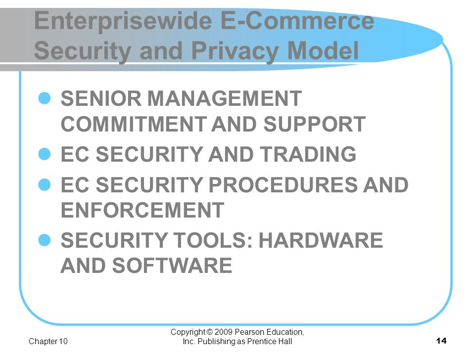Enterprisewide E-Commerce Security and Privacy Model