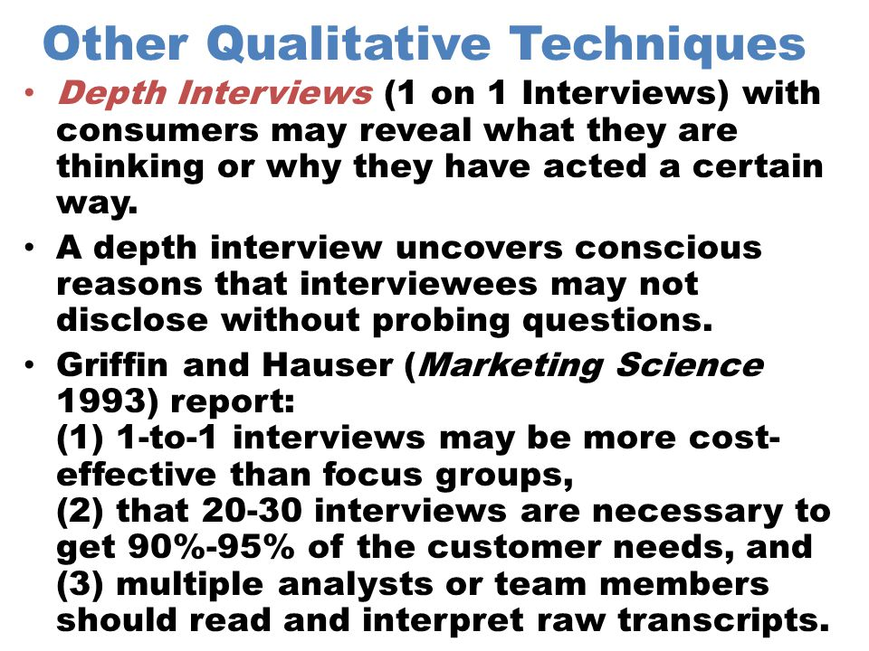 Other Qualitative Techniques
