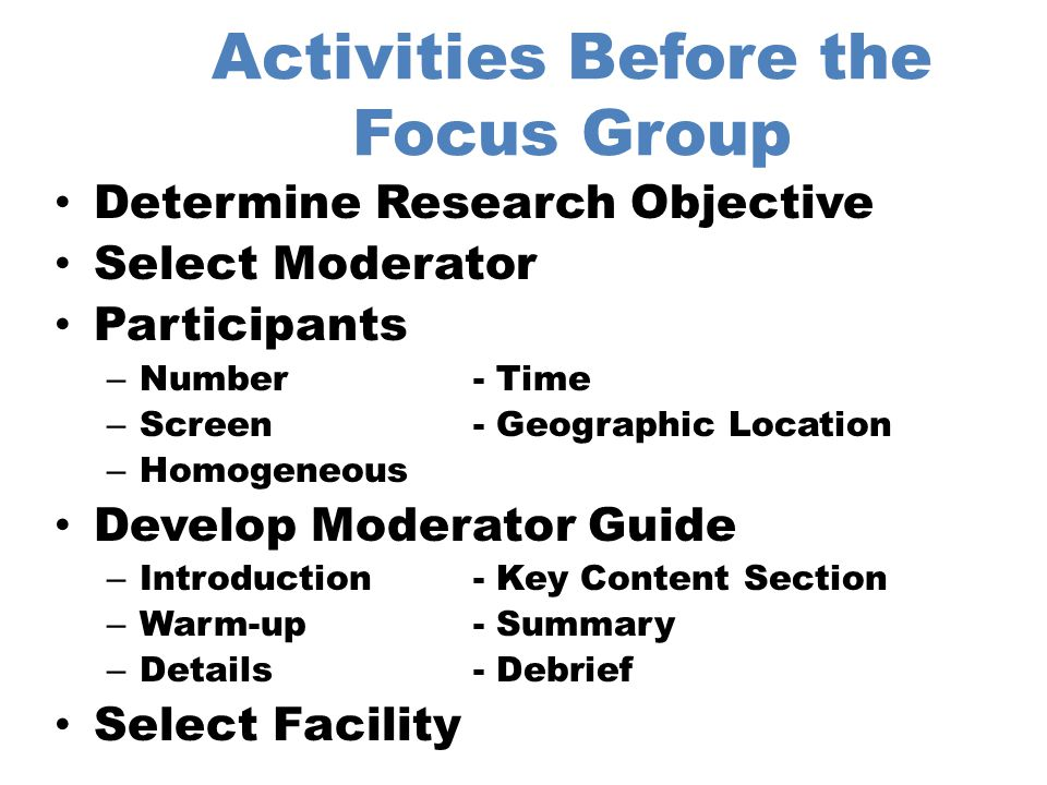 Activities Before the Focus Group