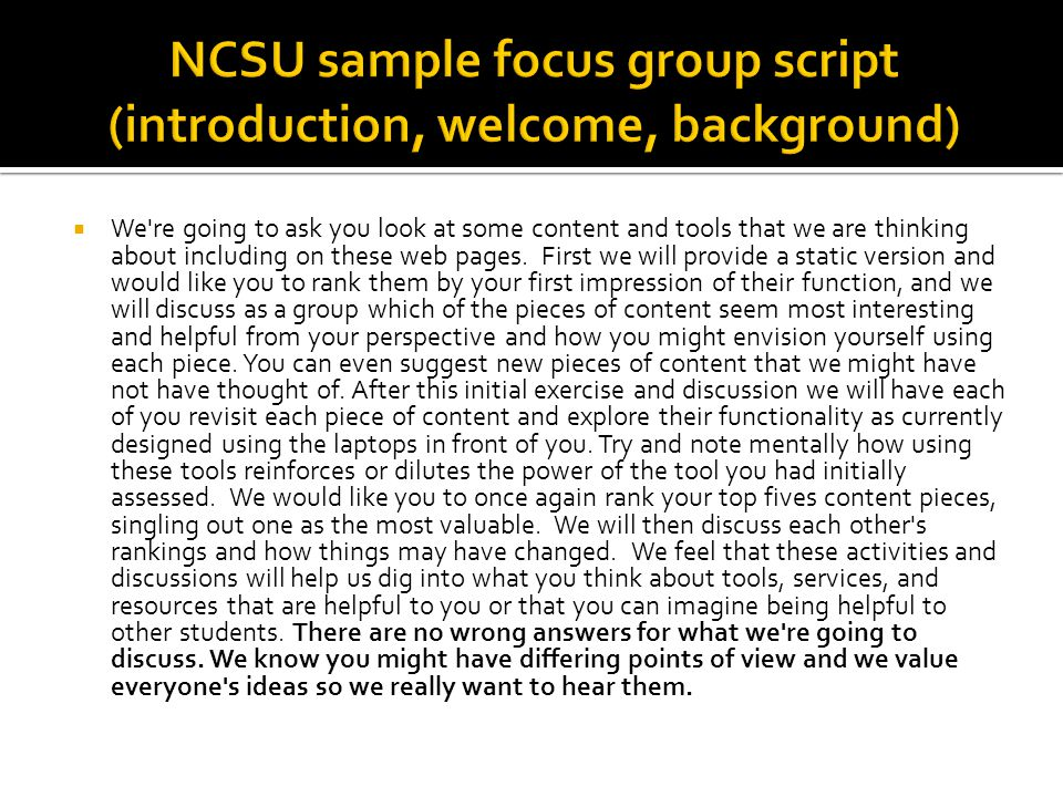 NCSU sample focus group script (introduction, welcome, background)