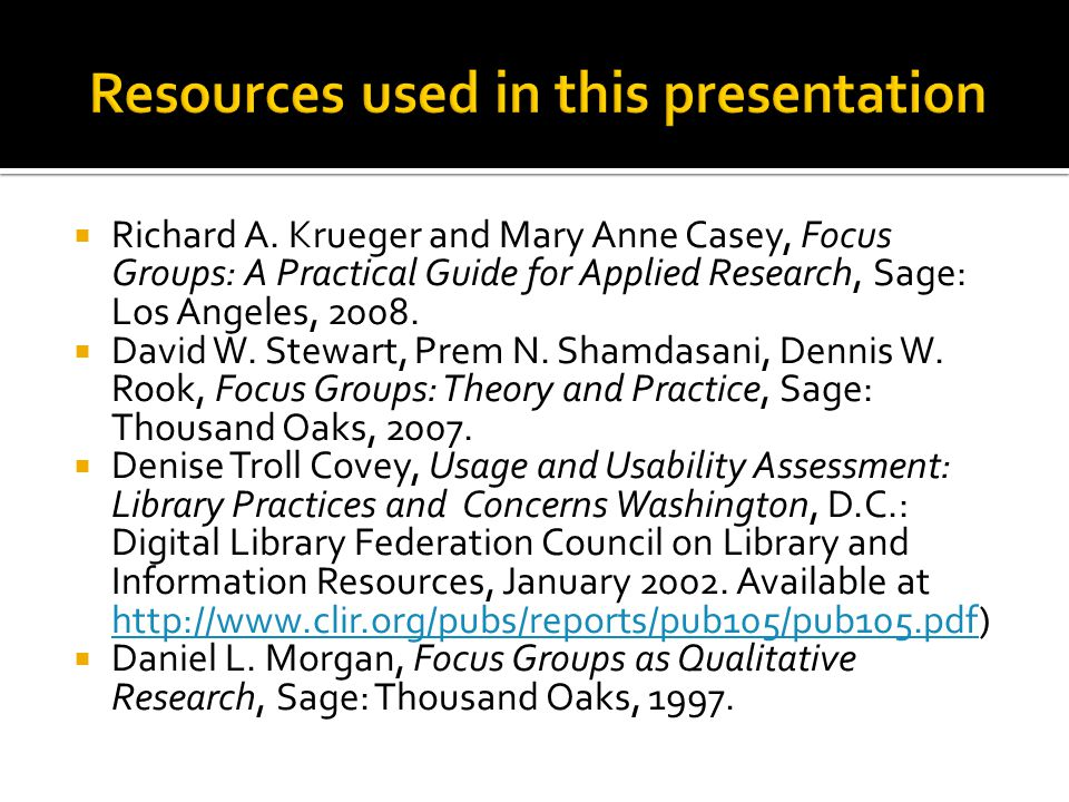 Resources used in this presentation