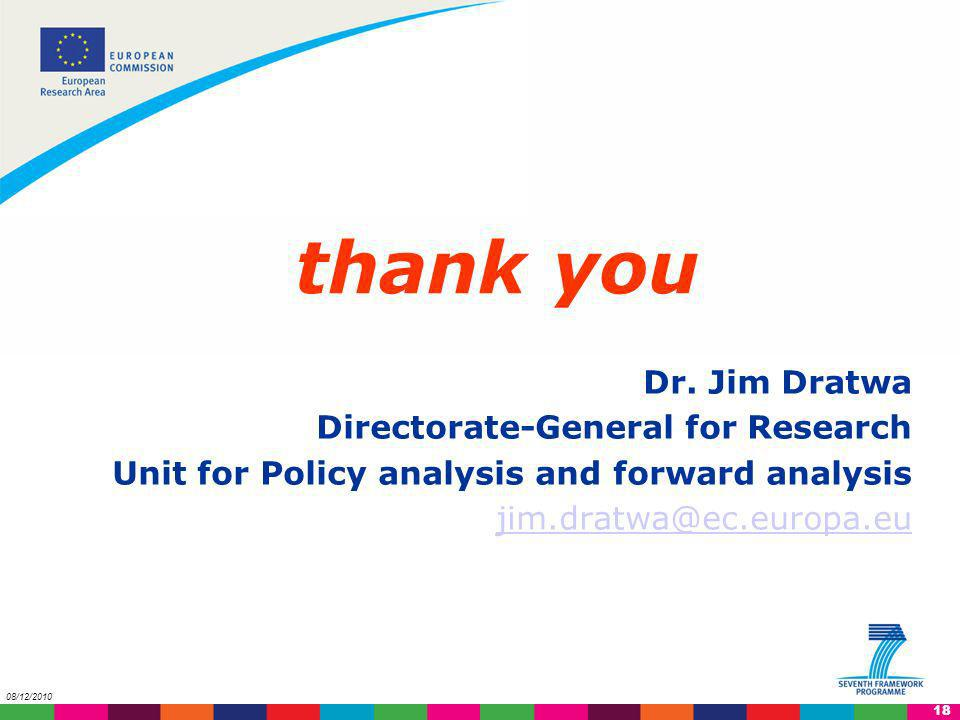 thank you Dr. Jim Dratwa Directorate-General for Research