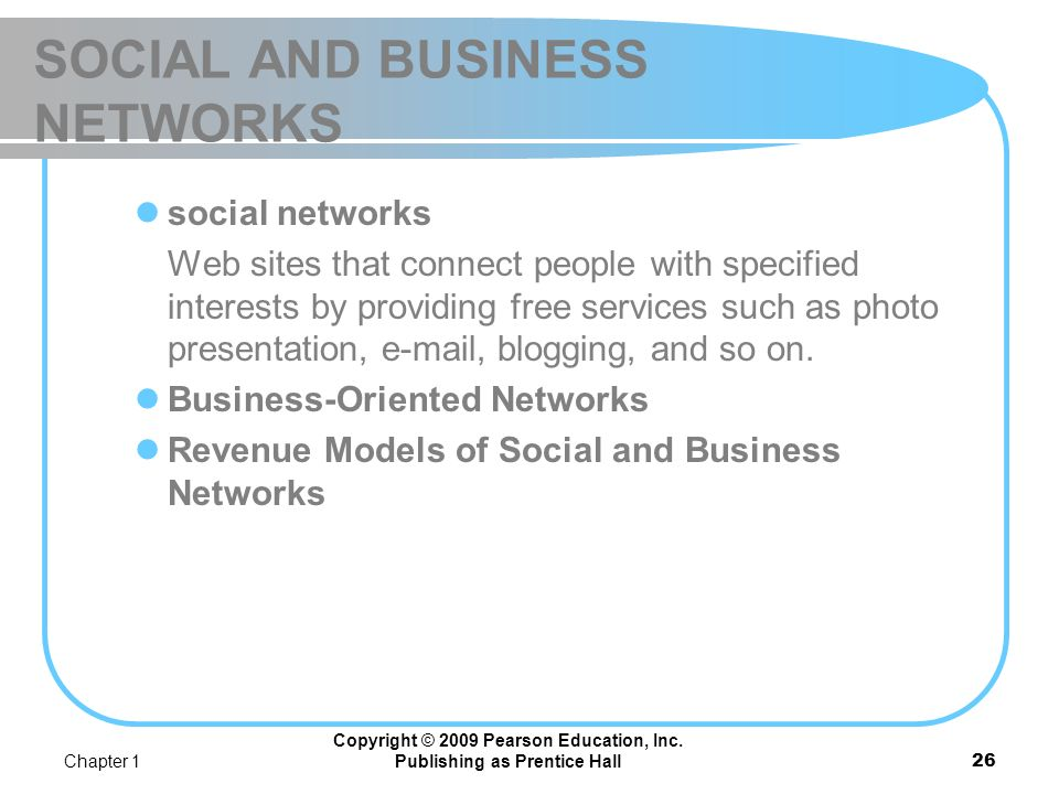 SOCIAL AND BUSINESS NETWORKS