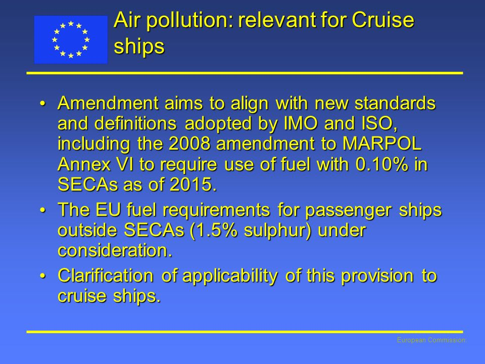 Air pollution: relevant for Cruise ships