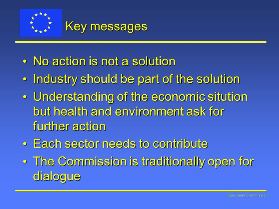 No action is not a solution Industry should be part of the solution