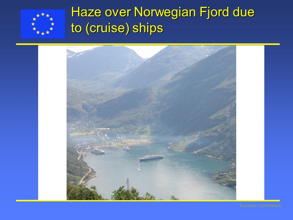 Haze over Norwegian Fjord due to (cruise) ships