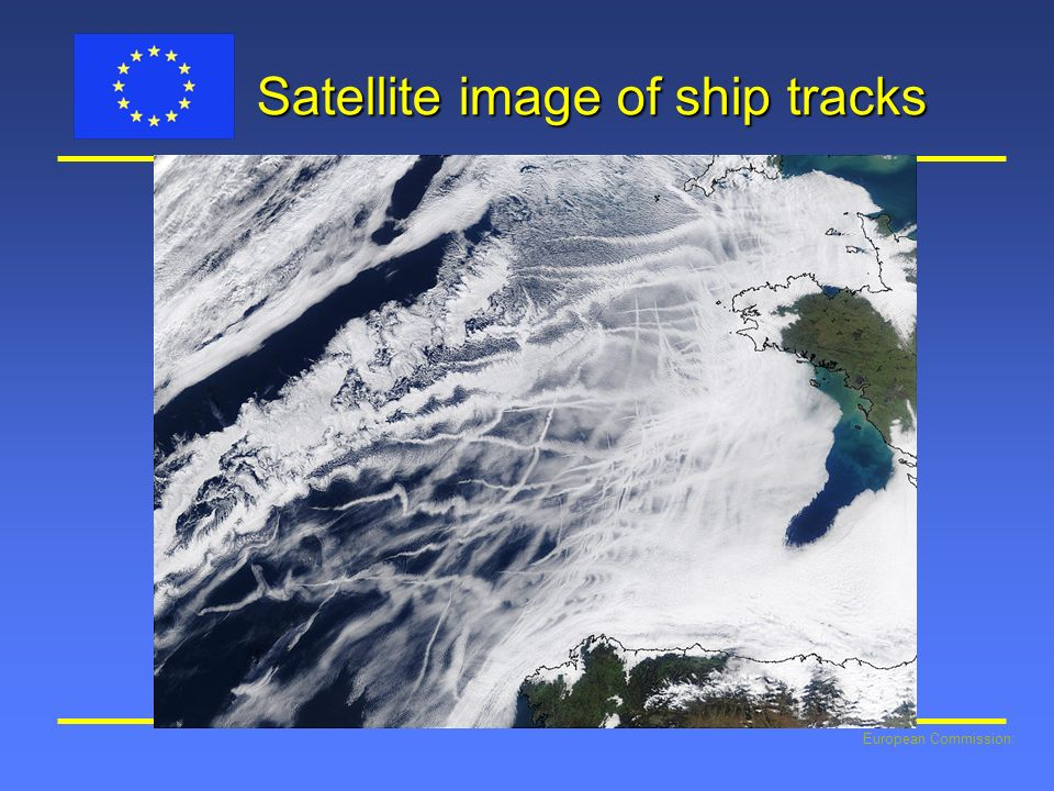 Satellite image of ship tracks
