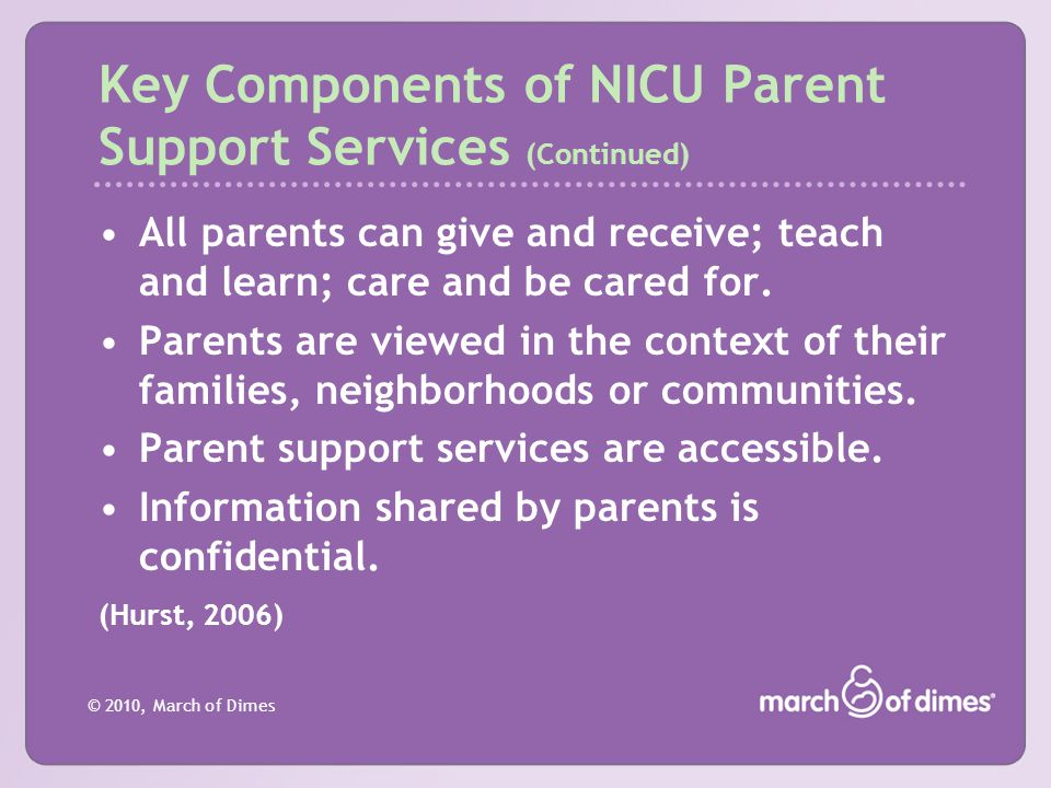Key Components of NICU Parent Support Services (Continued)