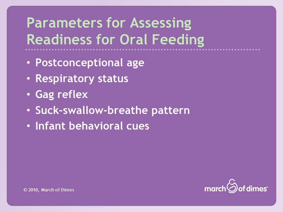 Parameters for Assessing Readiness for Oral Feeding