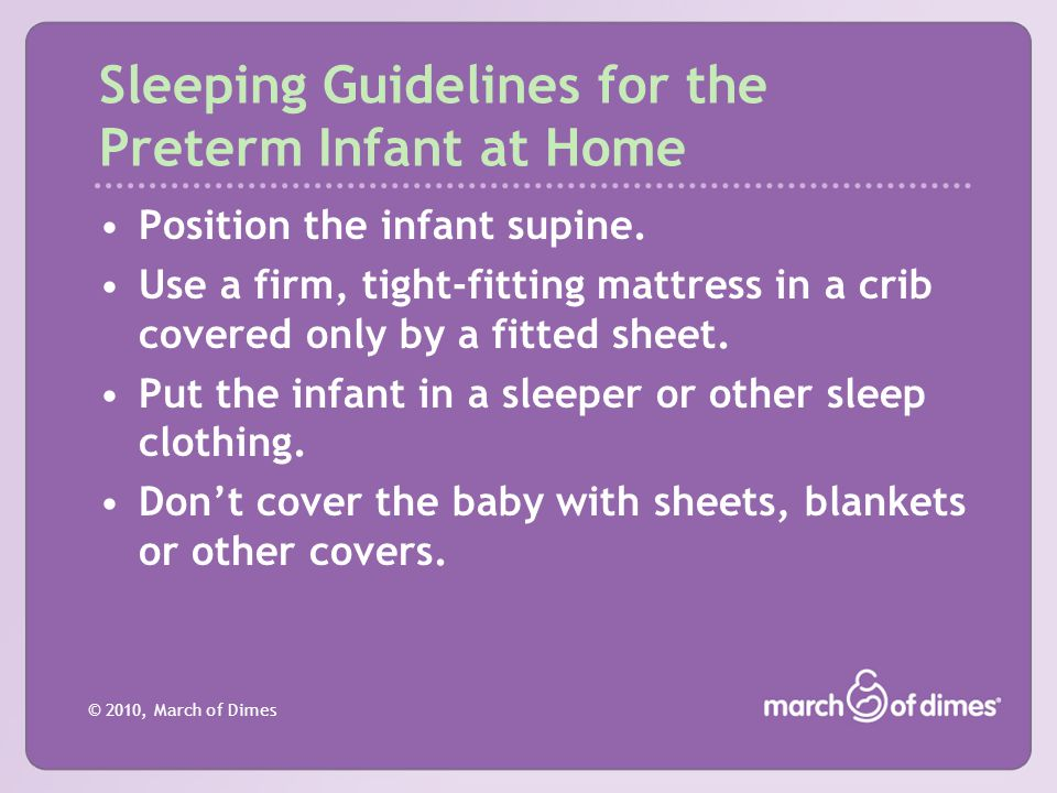 Sleeping Guidelines for the Preterm Infant at Home