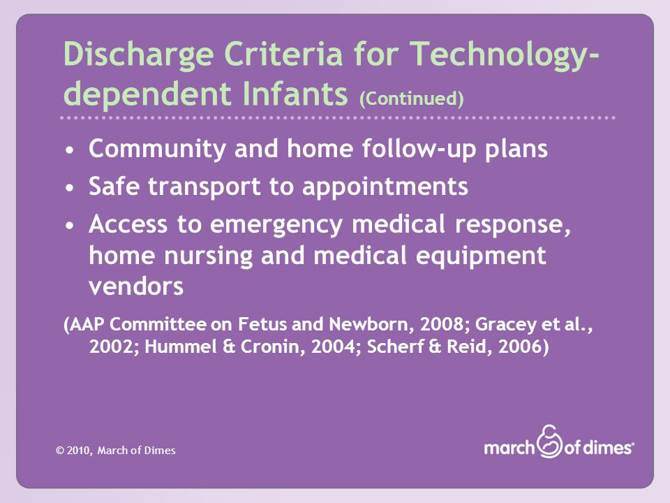Discharge Criteria for Technology-dependent Infants (Continued)