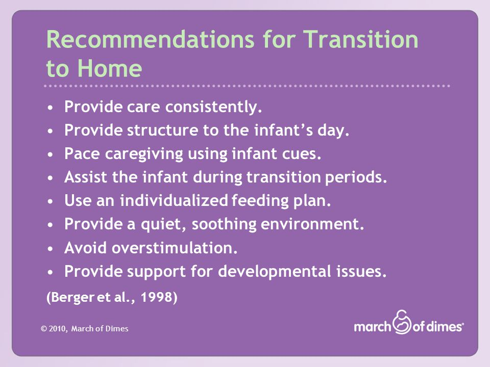 Recommendations for Transition to Home