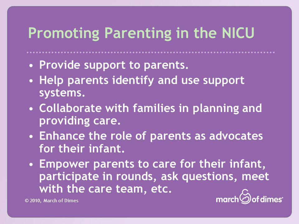 Promoting Parenting in the NICU