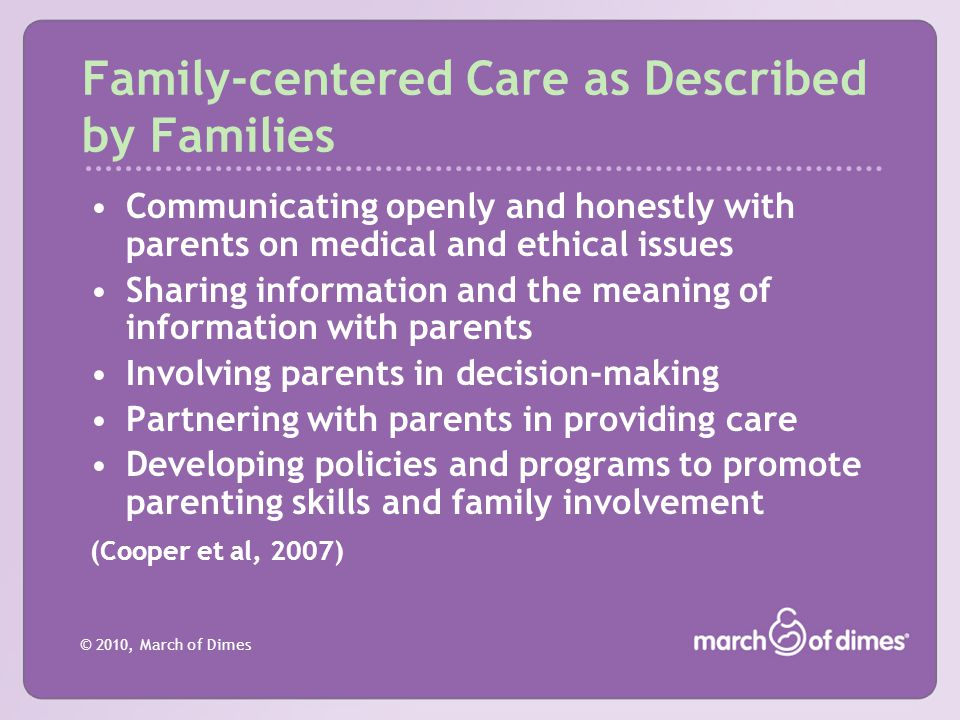 Family-centered Care as Described by Families