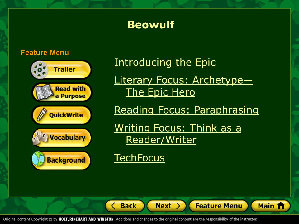 Beowulf Introducing the Epic Literary Focus: Archetype— The Epic Hero