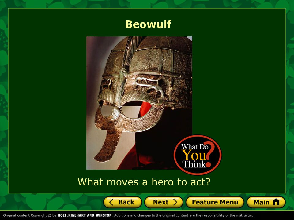 Beowulf What moves a hero to act