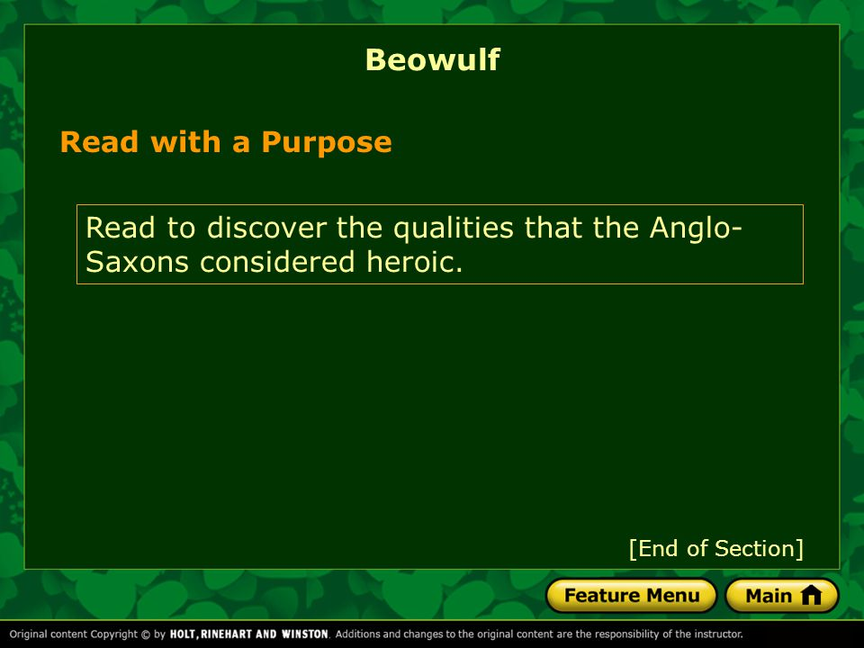Beowulf Read with a Purpose