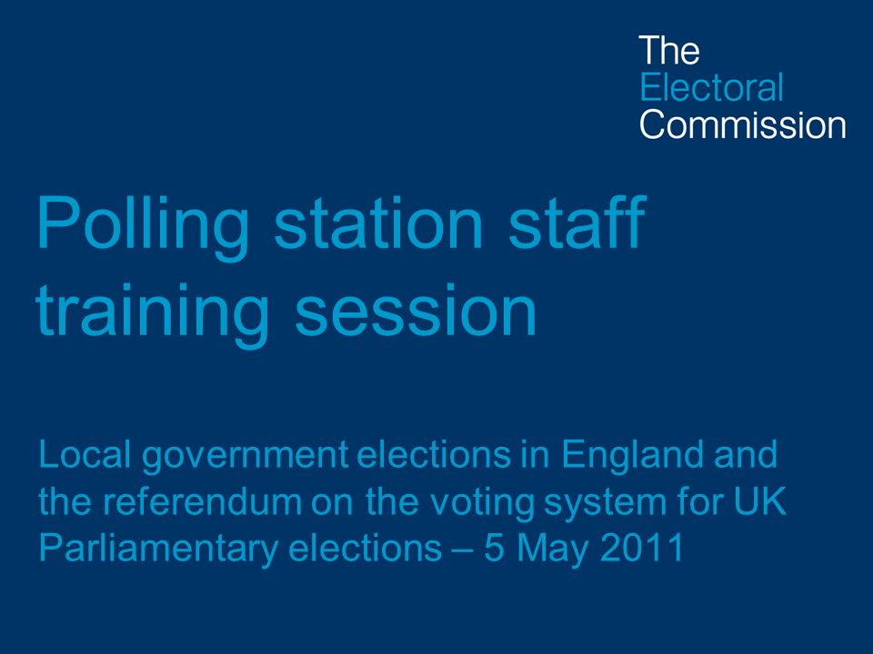 Polling station staff training session
