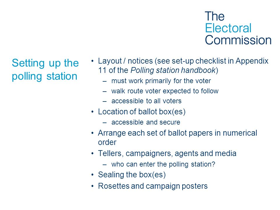 Setting up the polling station