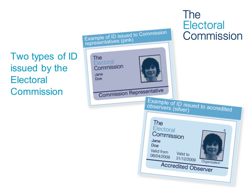 Two types of ID issued by the Electoral Commission