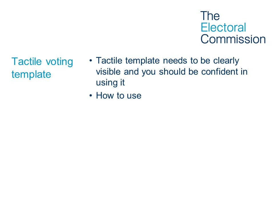 Tactile voting template