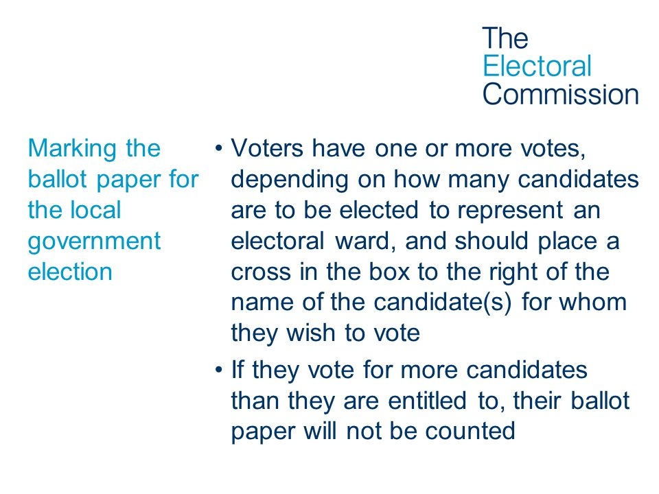 Marking the ballot paper for the local government election