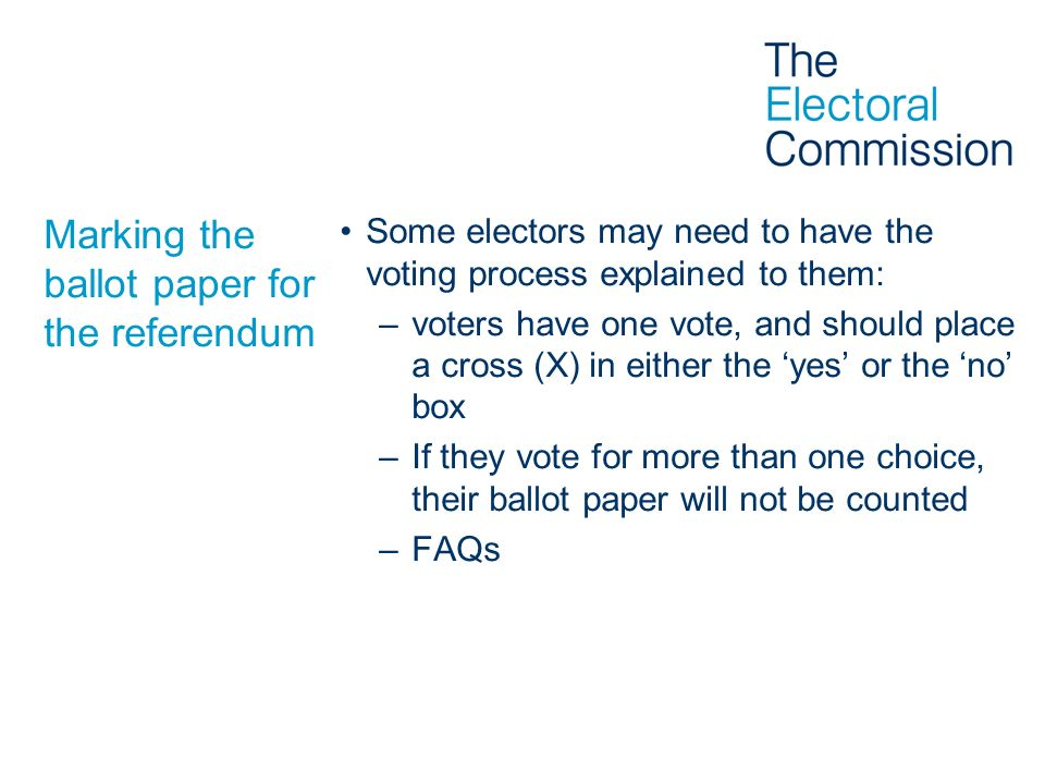 Marking the ballot paper for the referendum