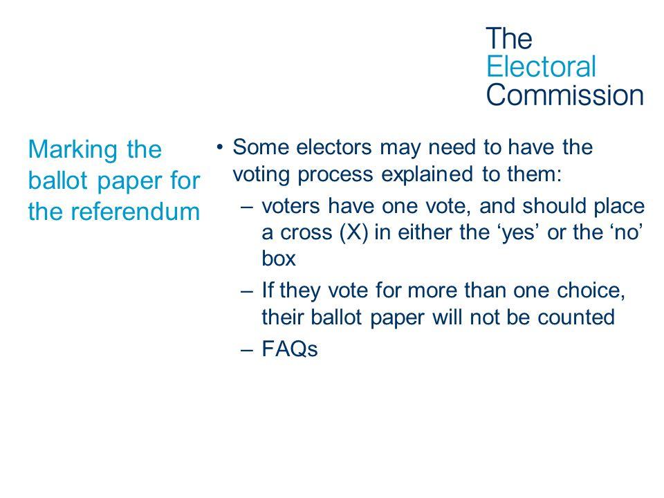 Marking the ballot paper for the referendum